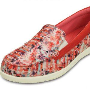 CROCS | Red Pink Canvas memory Foam Loafer Size 6